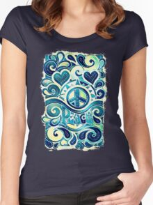 Peace and Love Retro Art Women's Fitted Scoop T-Shirt