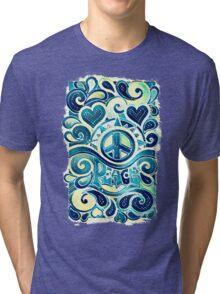Peace and Love Retro Art Tri-blend T-Shirt