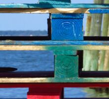 Colorful Wooden Planks and Sea - Fire Island, NY Sticker