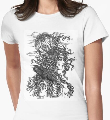 The Morrígan - Goddess with Raven Womens Fitted T-Shirt