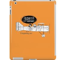 Retro lady in biplane, vintage orange, airplane iPad Case/Skin