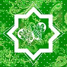 Butterfly on Green Paisley by Dana Roper