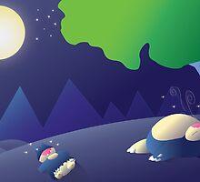 Pokemon Sleep Time - Munchlax and Snorlax by ShinobuSensui