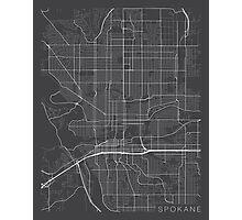 Spokane Map, USA - Gray Photographic Print