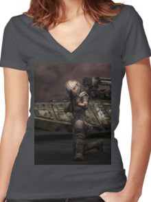 Big Head Betty 8 Women's Fitted V-Neck T-Shirt