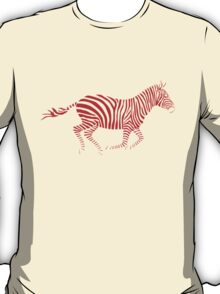 Galloping Zebra Stencil - Red T-Shirt
