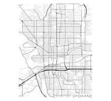 Spokane Map, USA - Black and White Photographic Print