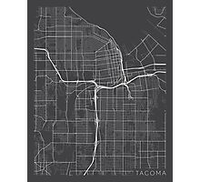 Tacoma Map, USA - Gray Photographic Print