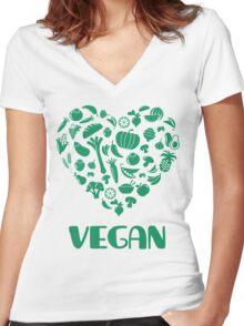 Vegan Lover Women's Fitted V-Neck T-Shirt