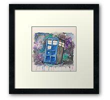 Watercolor Galaxy TARDIS Framed Print
