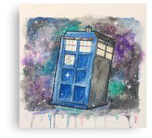 Watercolor Galaxy TARDIS Canvas Print