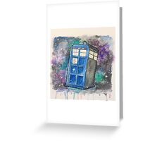 Watercolor Galaxy TARDIS Greeting Card