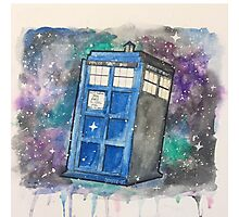 Watercolor Galaxy TARDIS Photographic Print
