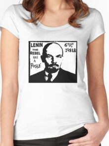 Vladimir Lenin Has A Posse - Obey Andre the Giant - Shepard Fairey communism parody Women's Fitted Scoop T-Shirt