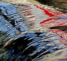 Reflections of a Sign on High Falls, Muskoka, ON, Canada by Gerda Grice