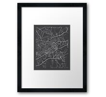 Ho Chi Minh City Map, Vietnam - Gray Framed Print