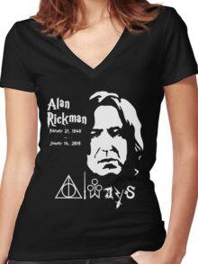 Alan Rickman Always Women's Fitted V-Neck T-Shirt