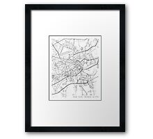 Ho Chi Minh City Map, Vietnam - Black and White Framed Print