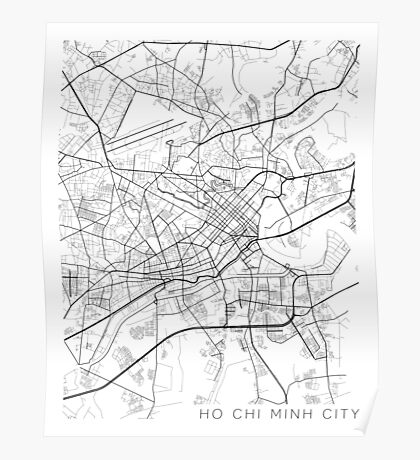 Ho Chi Minh City Map, Vietnam - Black and White Poster