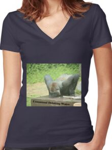 Communal Drinking Water Women's Fitted V-Neck T-Shirt