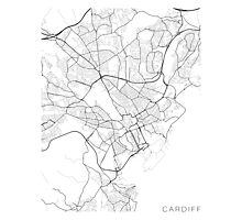Cardiff Map, Wales - Black and White Photographic Print
