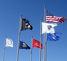 U.S. Flag, POW/MIA Flag, Armed Forces Flags by photroen