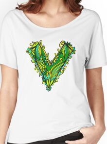 V as vegan, vegetarian, plant, save planet earth, green lifestyle  Women's Relaxed Fit T-Shirt