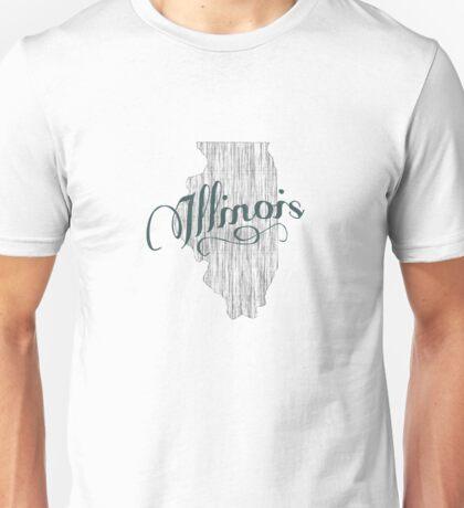 Illinois State Typography Unisex T-Shirt