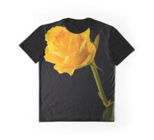 Closeup of Yellow Rose on Black Graphic T-Shirt