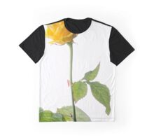 Closeup of Yellow Rose on White Graphic T-Shirt