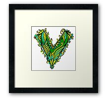 V as vegan, vegetarian, plant, save planet earth, green lifestyle  Framed Print