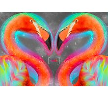 Life Is So Much Brighter (Neon Infinity Flamingos 2) Photographic Print