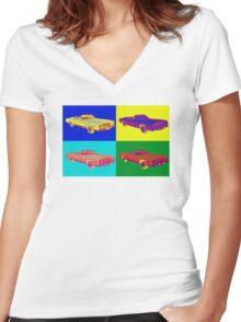 1975 Cadillac El Dorado Convertible Pop Art Women's Fitted V-Neck T-Shirt