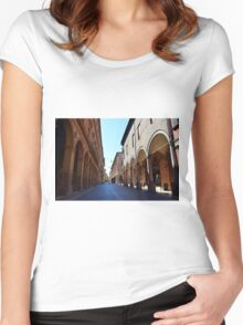 14 August 2016 Photography of a street with buildings with portico on a sunny day in Bologna, Italy. Women's Fitted Scoop T-Shirt