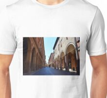 14 August 2016 Photography of a street with buildings with portico on a sunny day in Bologna, Italy. Unisex T-Shirt