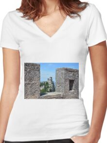 San Marino landscape with tower. Women's Fitted V-Neck T-Shirt