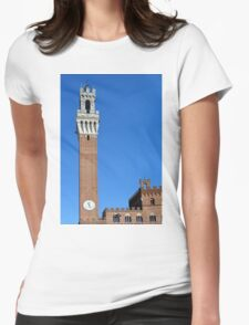 Brick buildings and tower from Piazza del Campo in Siena. Womens Fitted T-Shirt