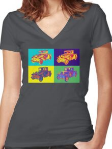 Colorful 1930 Model A Ford Pickup Truck Pop Art Women's Fitted V-Neck T-Shirt