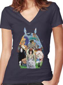Studio Ghibli Women's Fitted V-Neck T-Shirt