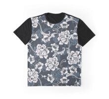 Black and White Floral Pattern Graphic T-Shirt