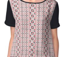 Embroidery red and black cross-stitch pattern Chiffon Top