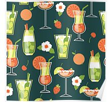 Tropical Drink Pattern Poster