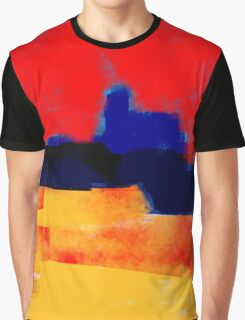 Yellow and red landscape and the blue village Graphic T-Shirt
