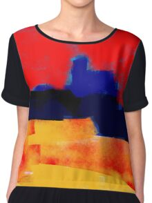 Yellow and red landscape and the blue village Chiffon Top