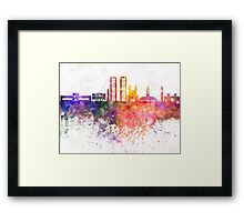 Casablanca skyline in watercolor background Framed Print