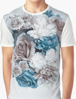 Taupe Blue Flower Mandala Graphic T-Shirt