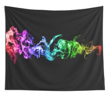 Colorful Abstract Smoke - A Rainbow in the Dark Wall Tapestry