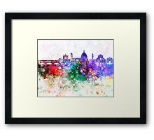 Florence skyline in watercolor background Framed Print