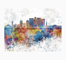 Louisville V2 skyline in watercolor background Kids Tee