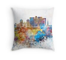 Louisville V2 skyline in watercolor background Throw Pillow